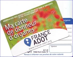 La carte de donneur d'organes